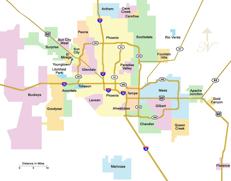 Phoenix Arizona Area Map