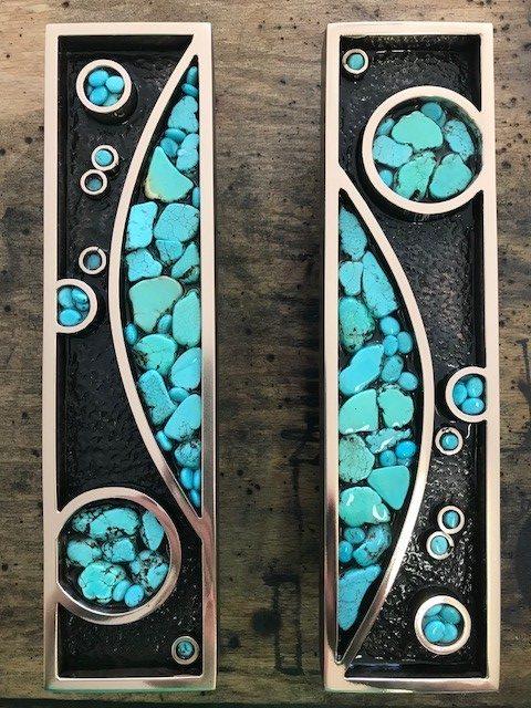 Custom Bronze and Turquoise Door Handles