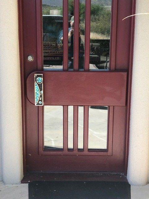 Bronze and Turquoise Door Handle